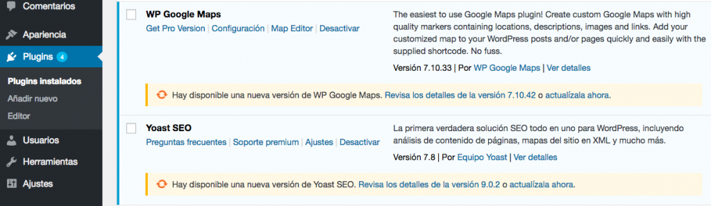 mantenimiento wordpress actualizaciones plugins