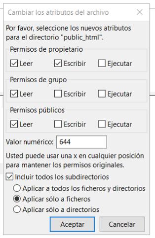 hosting permisos 403 forbidden 644