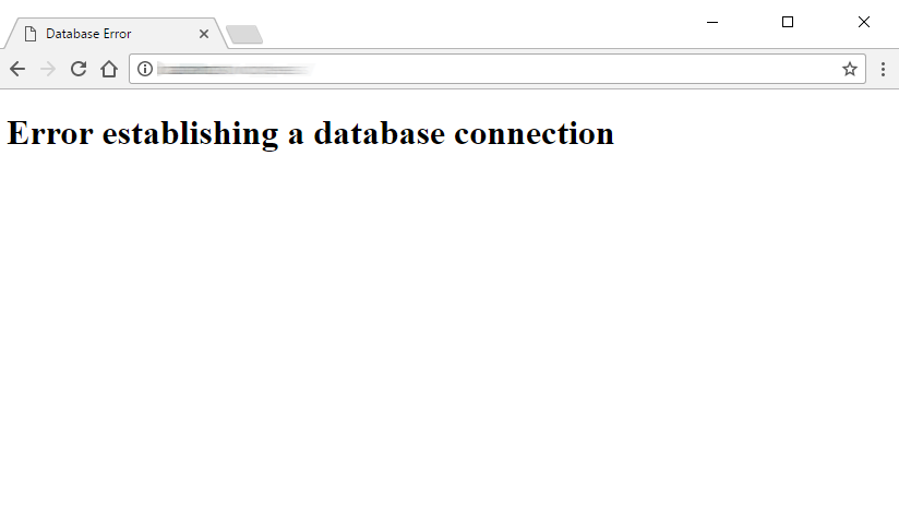 Error establishing database connection screen