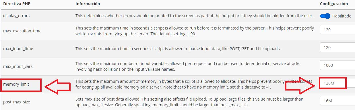 solucionar pantalla blanca de la muerte en WordPress cambiando memoria de php