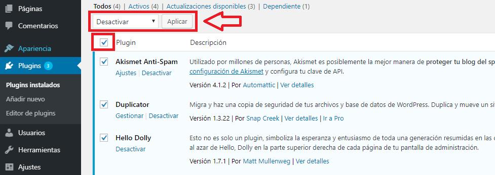 configurar wordpress multisite plugins deshabilitar temporalmente