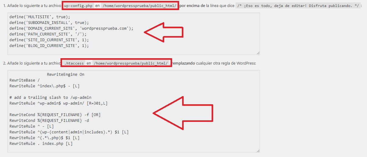 debes añadir a los archivos wp-config.php y el archivo .htaccess wordpress multisite código