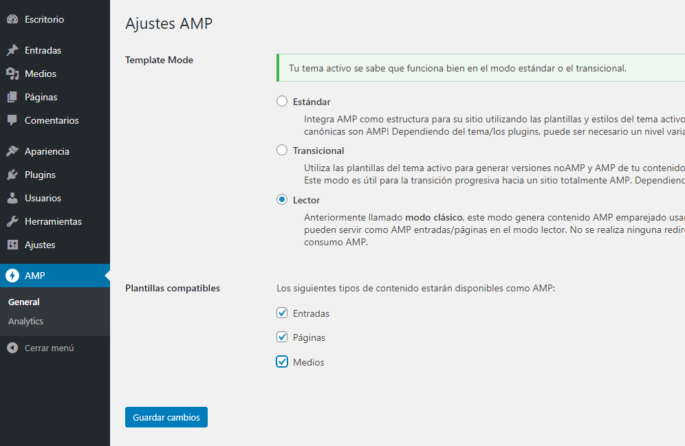 ajustes amp plugin wordpress