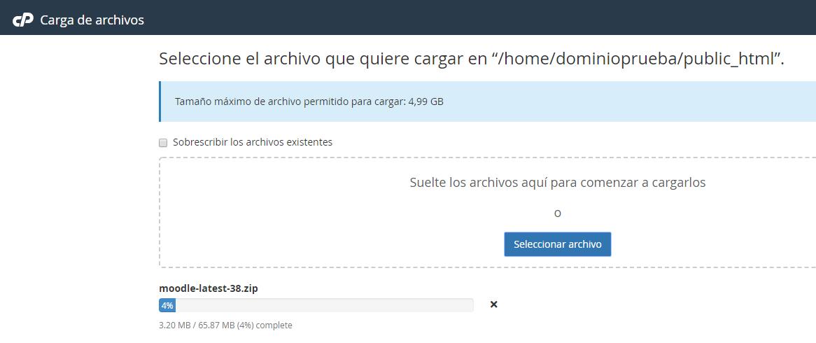 cpanel instalar moodle web