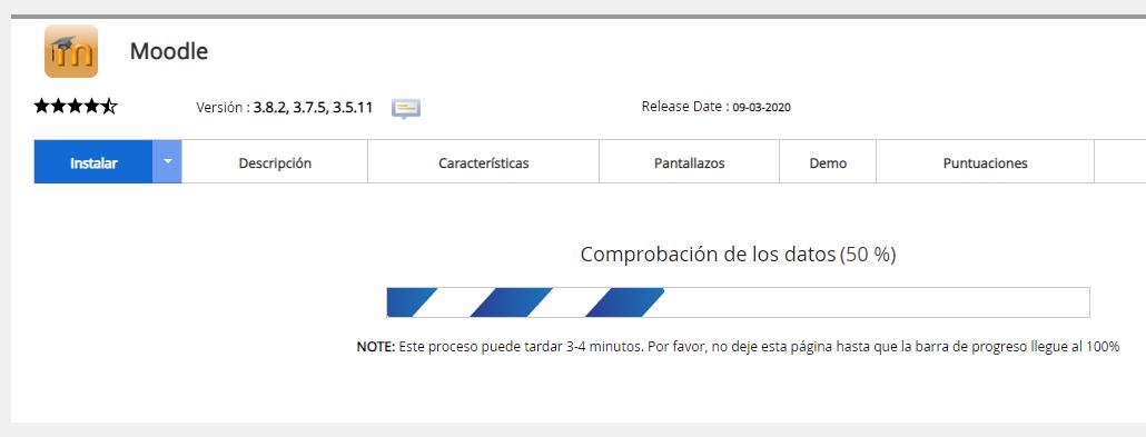 progreso instalación moodle hosting web que es instalar