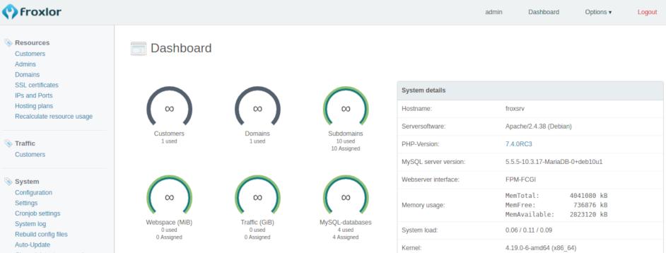 froxlor panel de control gratis de hosting