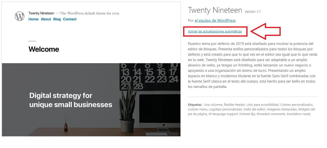 wordpress 5.5 actualizacion automatica tema