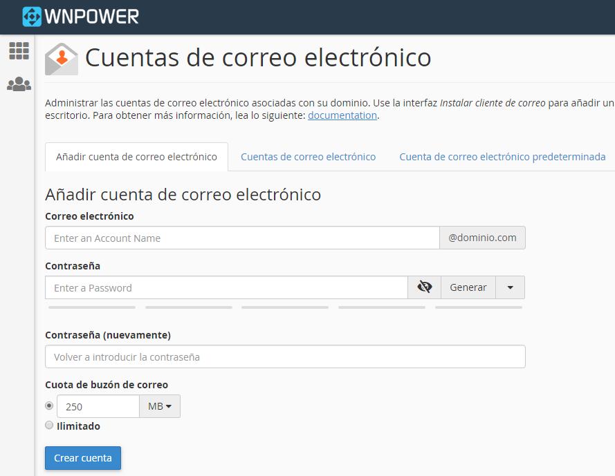 crear casilla email dominio personalizado