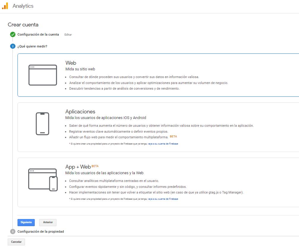 google analytics crear cuenta instrucciones 2
