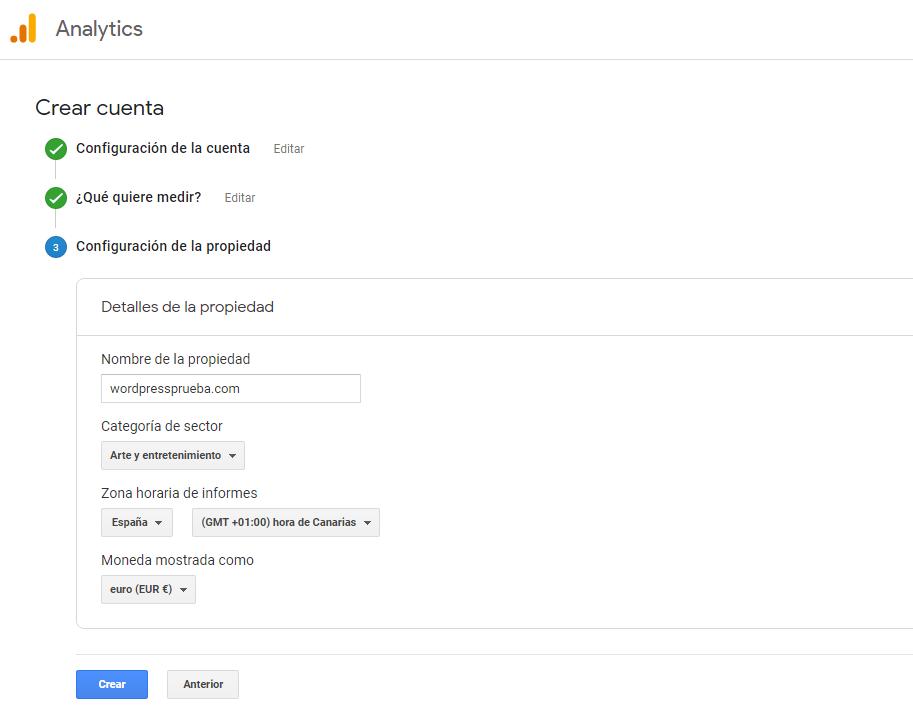 google analytics crear cuenta instrucciones 3