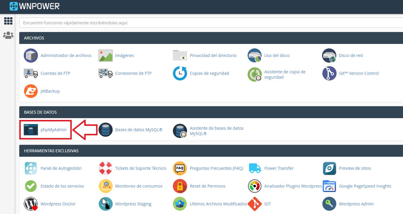 wordpress bases de datos estructura phpmyadmin