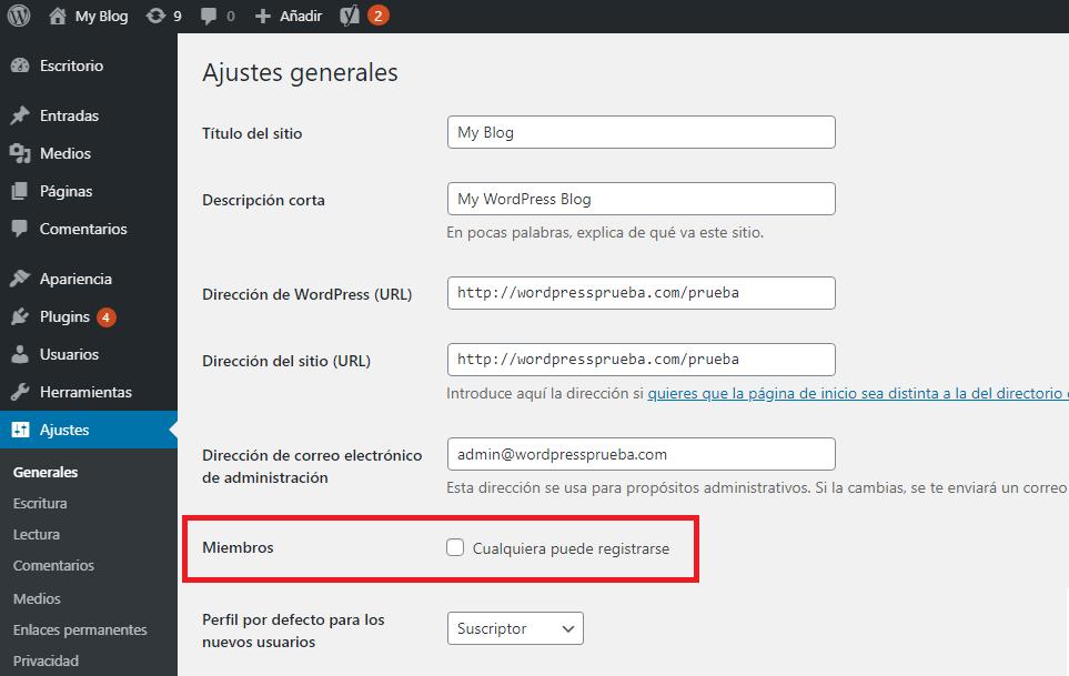 desmarcar registrar usuario wordpress spam basura