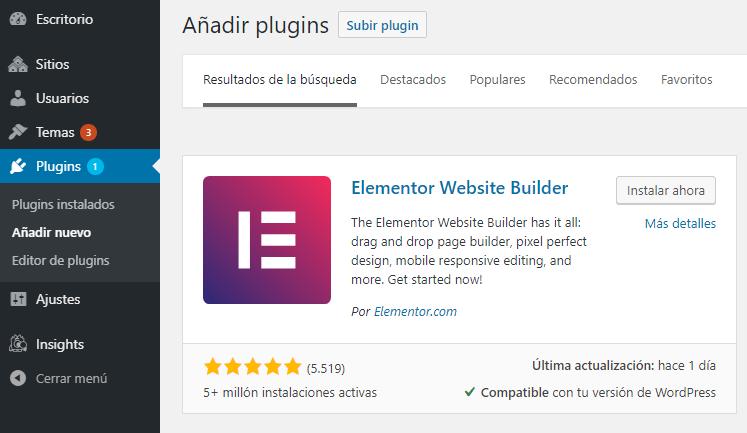 elementor captura wordpress constructor web builder