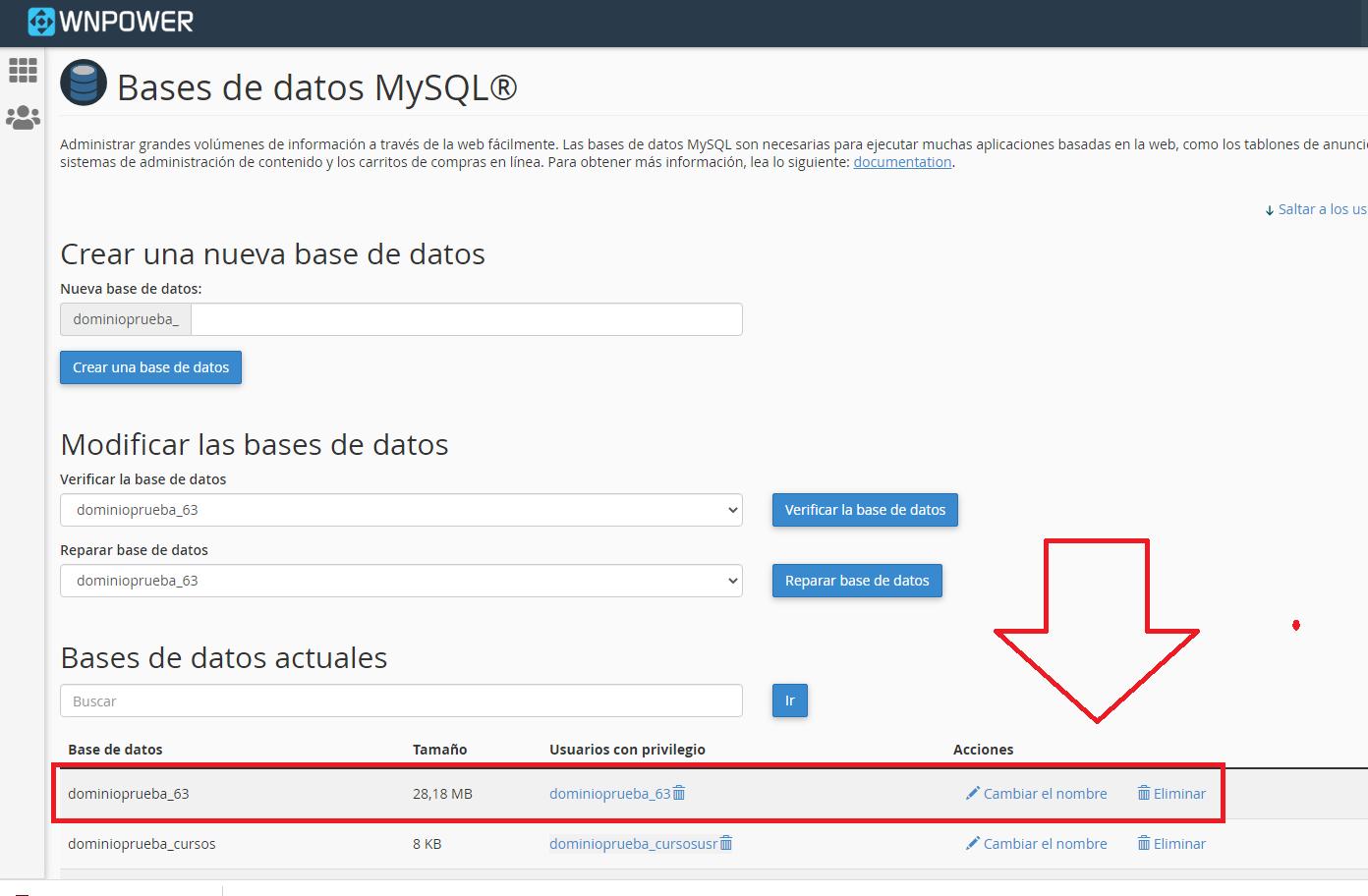 importar una base de datos MySQL en cPanel