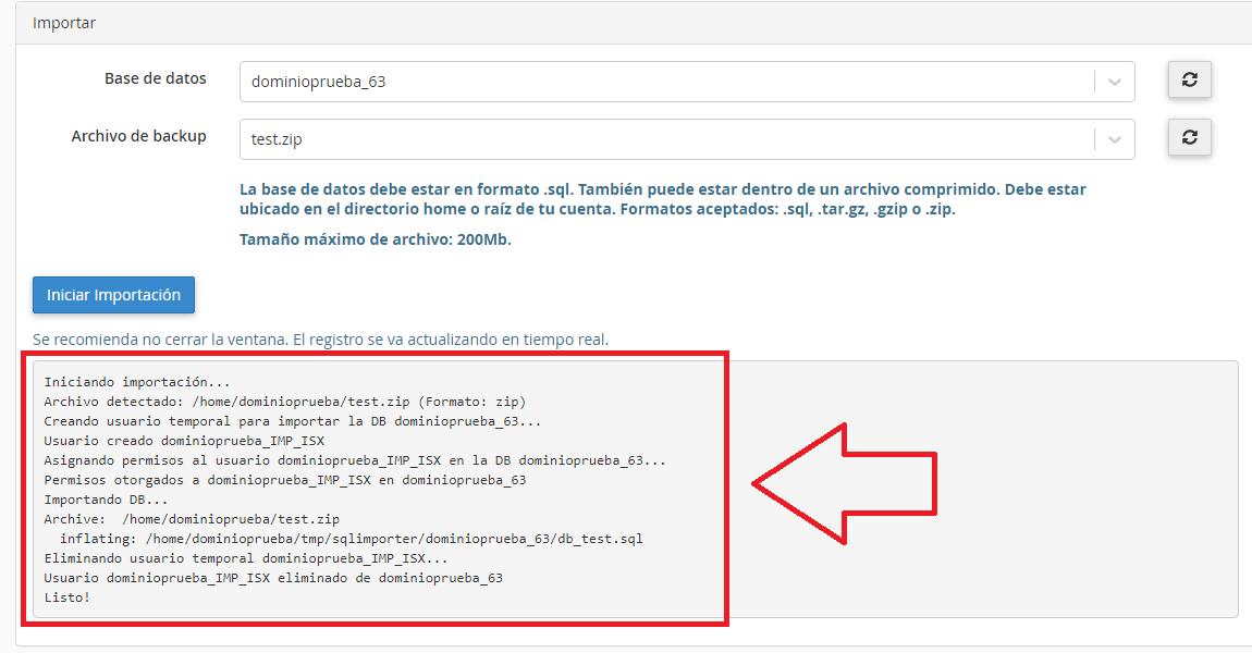 log de importar una base de datos MySQL en cPanel