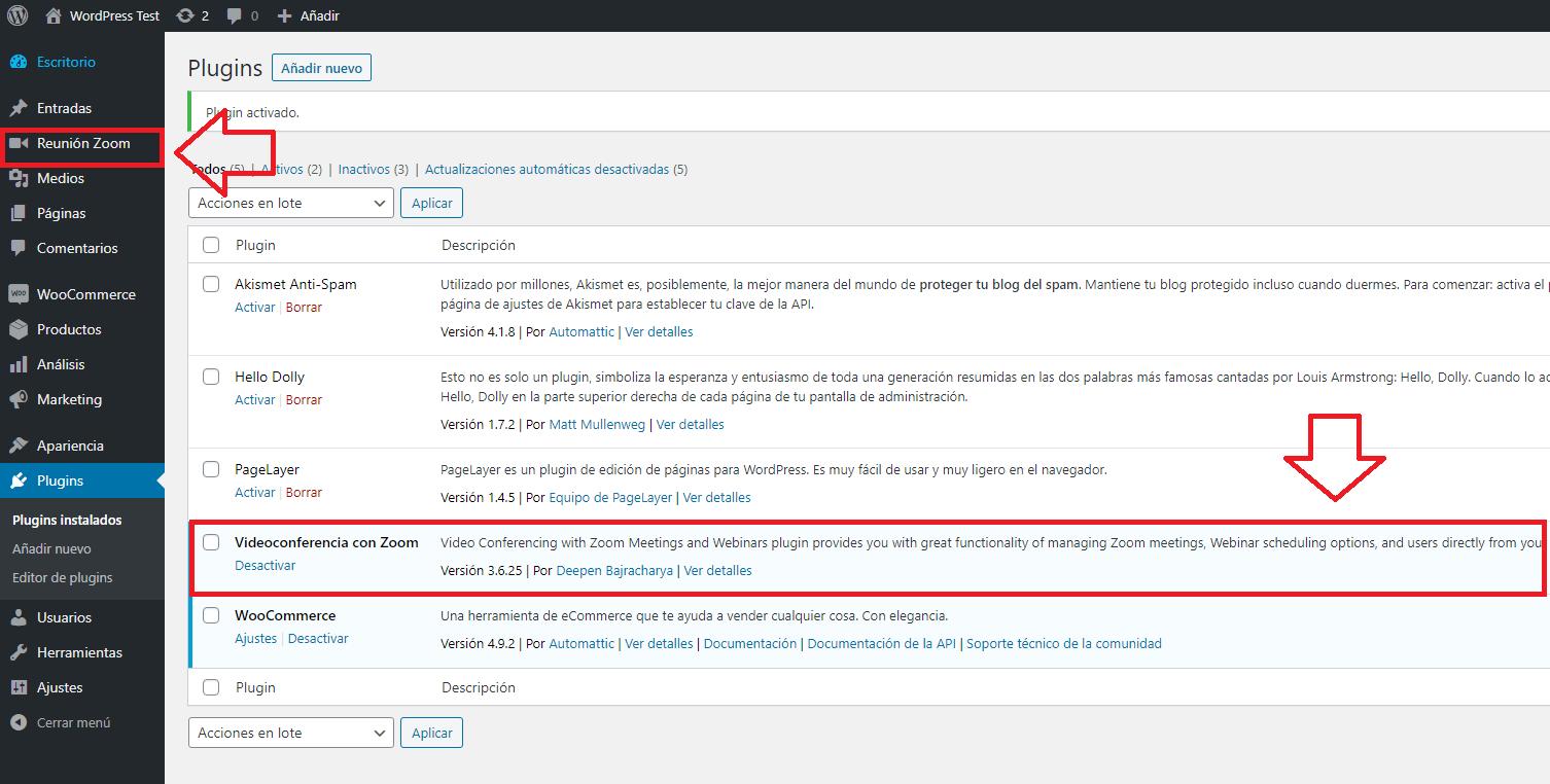 integrar instalar zoom wordpress