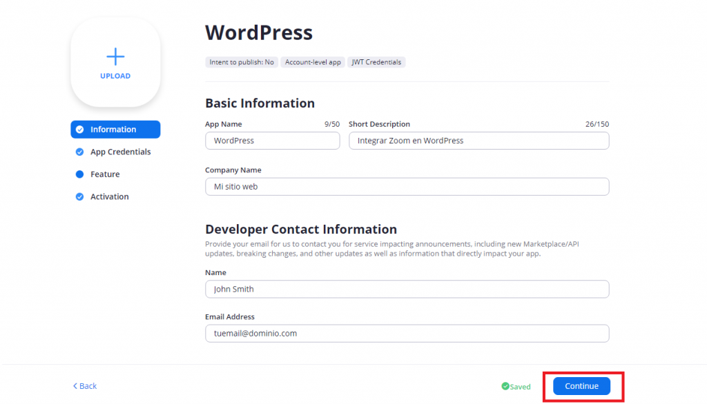 integrar instalar zoom wordpress app creada