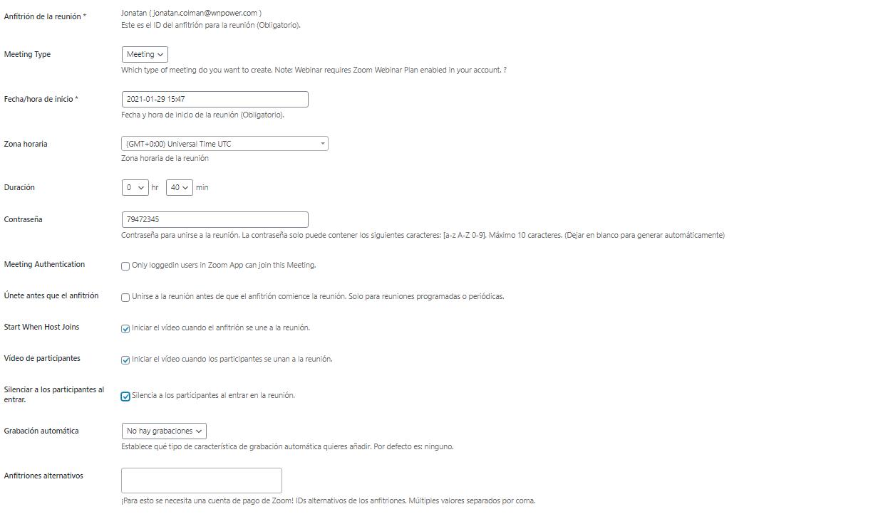 integrar instalar zoom wordpress ajustes reunion