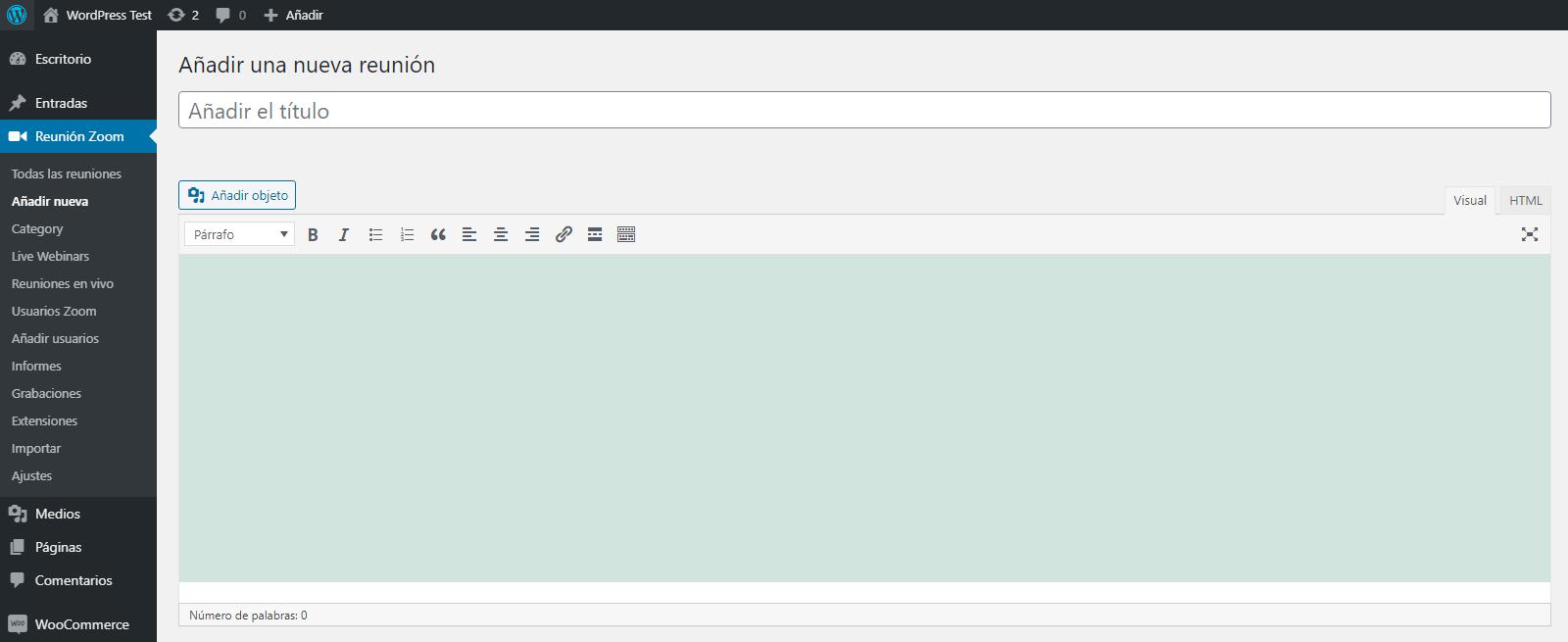 integrar instalar zoom wordpress crear reunion