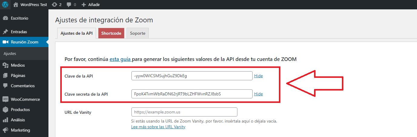 integrar instalar zoom wordpress pegar detalle
