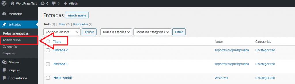 wordpress recuperar entrada añadir nueva