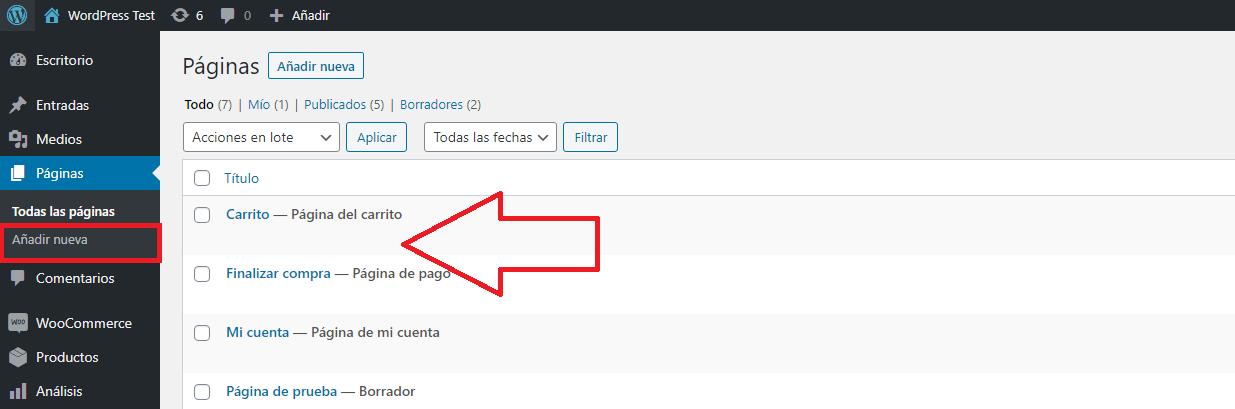 wordpress recuperar entrada pagina añadir nueva