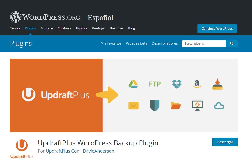 wordpress recuperar entrada pagina plugin UpdraftPlus