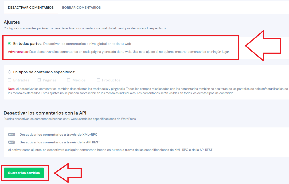 deshabilitar comentarios disable comments activar