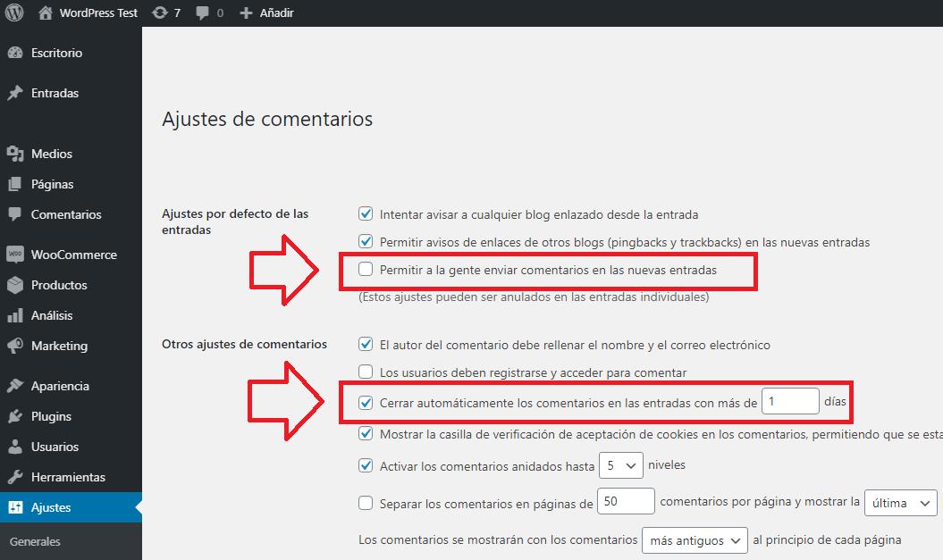 desactivar comentarios wordpress