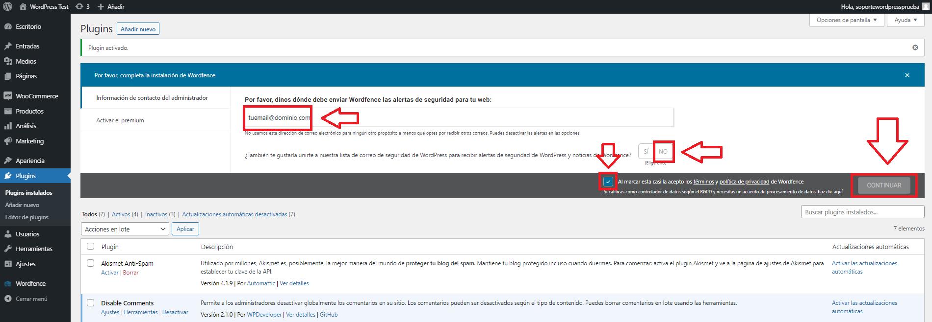 instalar wordfence en tu wordpress desde wp-admin