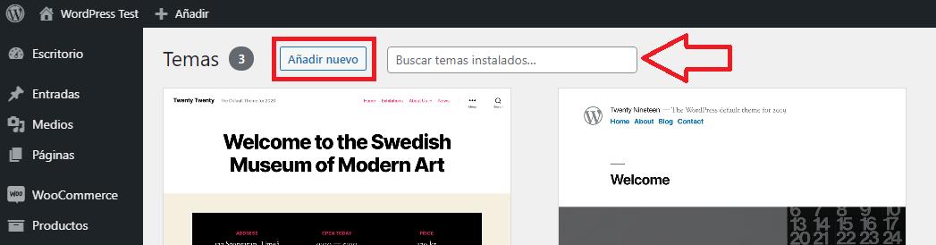 añadir nuevo tema wordpress