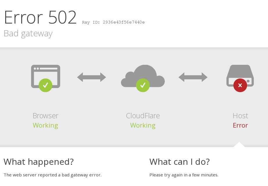 Error 502 bad gateway solucionar error de cloudflare