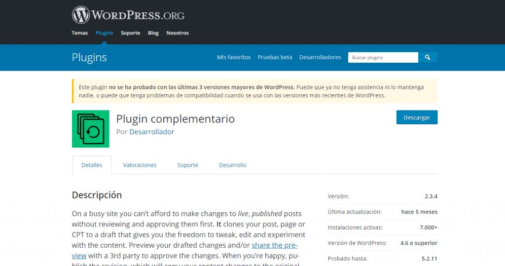 conviene o no instalar plugin no probado en versiones de wordpress